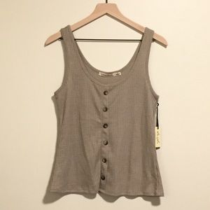 Liberty Love Beige Waffle Button Tank Large